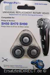 Nova Shaver-Parts 3er Scherköpfe zu SH50 SH70 SH90
